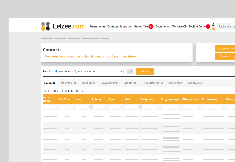 page relation client Leizee