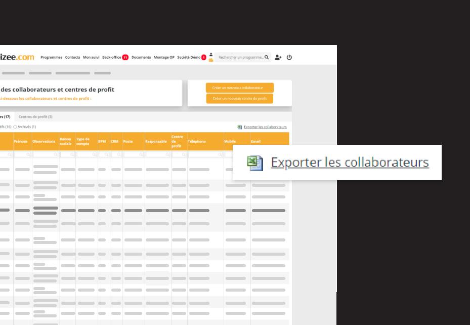 Interface d'exports de données