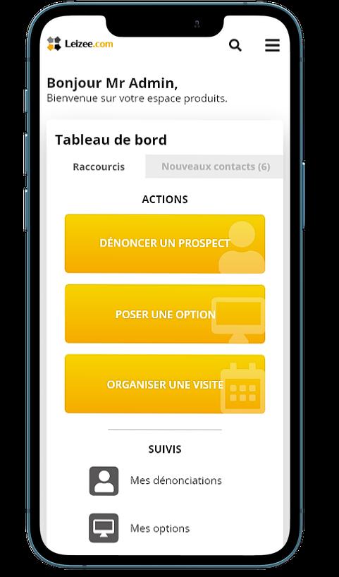 interface Leizee sur mobile