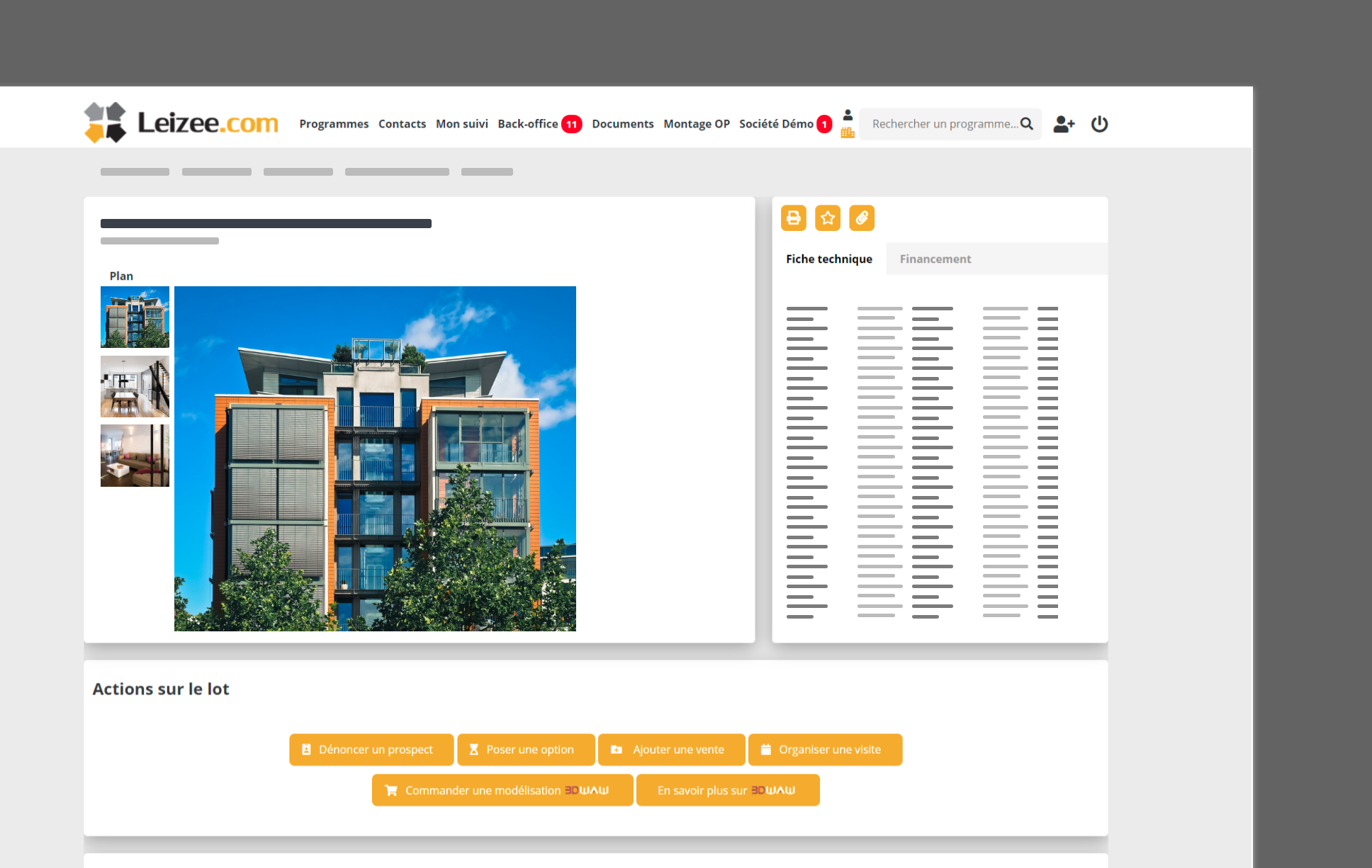 interface Leizee de programme immobilier